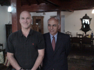 Corcoran with Afghanistan President, Ashraf Ghani, at his house in Kabul.